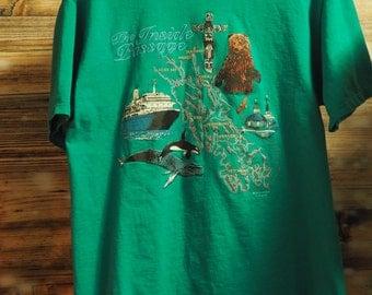Vintage Green Tourist T-Shirt Alaska Map