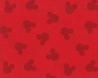 Disney Mickey Shadow Red by Cotton Calico fabric