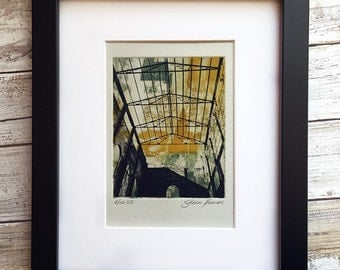 Contemporary Art Print - Original Etching - Abandoned Steel Ruins and Typography