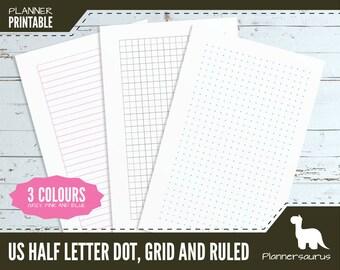 US half letter dot grid planner paper printable | bullet journal | BuJo | US half letter planner | grid template | paper instant download