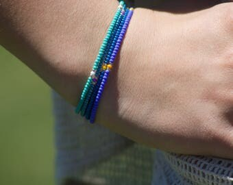 Metallic Blue Seed Bead Bracelet