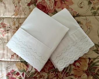 2 Beautiful Eyelet Lace Pillowcases - Ecru, Ivory, Cream, Off-white