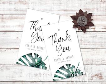 Thank You tags | Bonbonniere tag | Tropical theme Gift Tags | Wedding Thank You | Wedding Favour tag | Custom gift tag