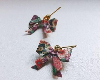 Bijoux origami, Boucles d'oreilles, noeud papillon, liberty, ribbon, bow earrings, origami earrings