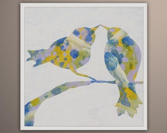 Painting Bird, Birds Tree Original oil painting on canvas, birds on tree, birds love, Art by Lara Wonderland