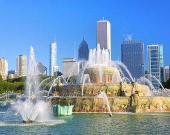 Chicago Skyline, Grant Park decor, Chicago city skyline, Chicago Wall Art, Chicago skyline print , Chicago Cityscape, Chicago print