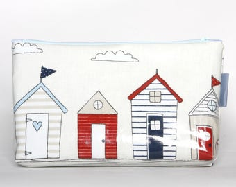 Cosmetic bags - Beach House, vegan clutch, case, cosmetic bag, make-up bag, pencil case, Crimea stuff bag, oilcloth, holiday, beach
