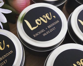 50 X Wedding Favour Candle Tins | Petite Soy Candles | Gold or Silver | 2oz | Personalised Labels |