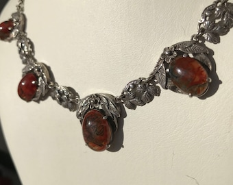 Seller away til 11 Aug Bernard Instone arts and crafts silver and moss agate antique necklace