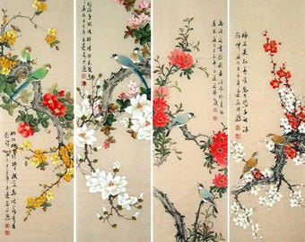 Flowers and Birds . Chinese Painting by Original Artist.Mounted On Scrolls for Hanging.Painting Size 13x51IN x 4 PCS.
