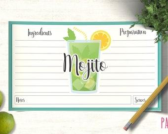 Card Recipe Template Mojito | cocktail template, printable recipes, recipe box cards, recipe pages, blank recipe card, custom recipe
