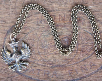 French Brass Napoleonic Crowned Eagle Pendant Neckalce