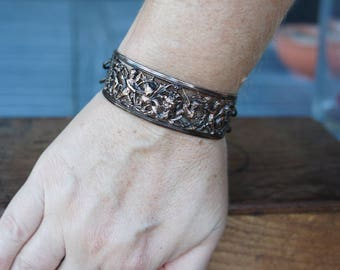 Ornate Cherubs and Dragons Filigree Cutout Bracelet French Brass Antique Vintage Style