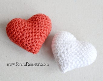 Hearts small hearts crochet hearts Amigurumi hearts red crochet heart white crochet heart