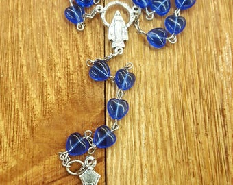 Blue rosary with hearts