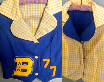 Vintage 70s Cheerleader Vest // Reversible Blue Yellow Gingham Cheeleader Top Costume