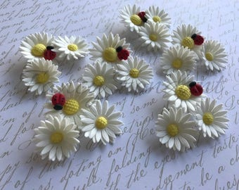 36 Edible Fondant Double Daisy Flowers Cupcake/Cake topper Decoration