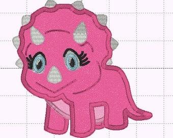 Girl Dinosaur Applique Design - INSTANT DOWNLOAD - Embroidery Design