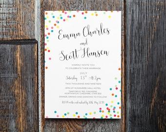 Confetti Invitation | Rainbow Wedding, Invitation Suite, Printed Polka Dot  Bright Confetti Wedding Stationery