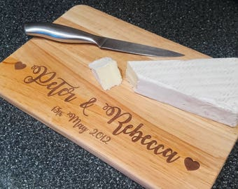 Personalised Chopping Board  |  Wedding  |  Anniversary  |  Laser Cut  |  Solid Wood  |  Calligraphy  |  Gift  |  Present  |  Cutting Board
