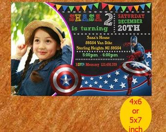 Captain America Invitations, The Avengers Invitations, Marvel Invitations