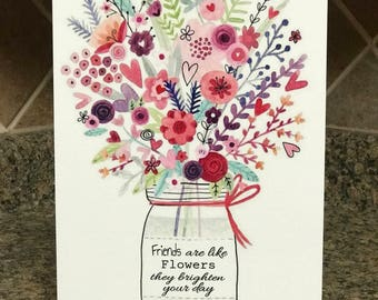 Friends Are Like Flowers - Metal Sign - Garden decor - Home Decor - Great Gift - Flower - Metal Wall Decor