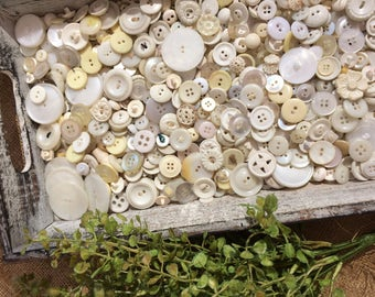 Vintage. White. Button lot. Antique.  Cream. White.  2 ounces. Collectible. Craft buttons. 1950s