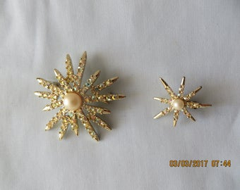 Vintage Emmons Aurora Borealis Brooch and 1 clip earring