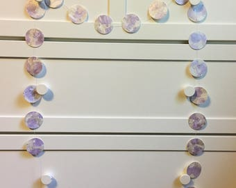 Purple and gray confetti garland, Paper garland, Hand painted garland, Wall decorations, Watercolor wall decorations