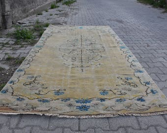 Faded Colored Floor Rug Free Shipping Turkish Rug 4.5 x 8.9 feet Area Rug  Boho Decor Rugs Decorative Rug Anatolian Wool Rug Turkish Carpet
