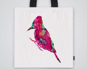 Watercolor Bird  Tote  Bag Shoulder Bag Market Bag Art Print