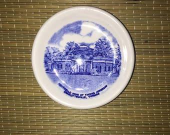 Vintage Virginia Monticello Thomas Jefferson Home Staffordshire butter pat plate