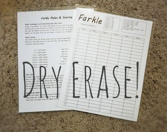 Farkle, Yard Farkle, Lawn Farkle Dry Erase Score Sheet Erasable and Reusable Laminated 8-1/2x11 Cardstock