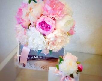 Peony Bouquet, Wedding Bouquet, Bridal Bouquet, Wedding Flowers, Pink Flowers, Boutonniere, Peony, Round Bouquet, Pink Flower Bouquet