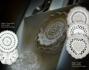 """Crochet doilies """"Cup"""" family 6 pcs"""