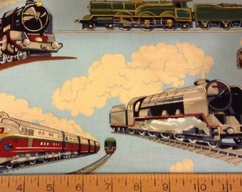 Modern trains cotton fabric by the yard