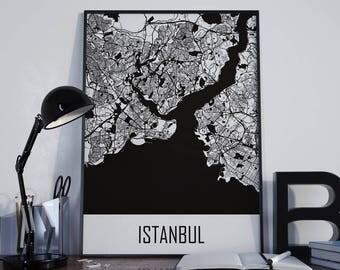 Istanbul Map Istanbul Street Map Istanbul Map Poster Istanbul Travel Map Istanbul Map Photo Istanbul Map Print Istanbul Map Art Unframed