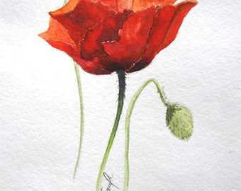 Red poppy, flowers, Original Painting, original watercolor, watercolour art, wall decor, watercolor painting