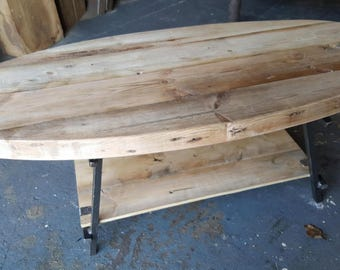 Reclaimed Wood and Steel Oval Urban Coffee Table