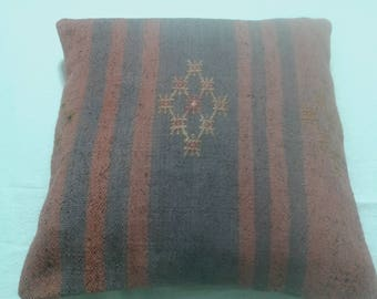 KILIM PILLOW,Hand made Turkish Kilim Pillow Cover, Vintage Kilim Pillow, Pastel colored Kilim Pillow, Decorative Cushion. 40x40 cm