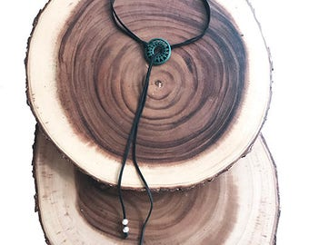 Wooden Aqua Adjustable Necklace