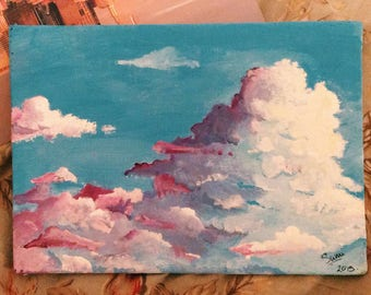 Small cloudy sky painting