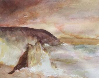 Cligga Head Cornwall, England - original watercolor painting