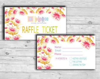 LLRoe size 3.5 x 2 Raffle Ticket Card Instant Download Home Office Approved Colors and Font - Red Flora