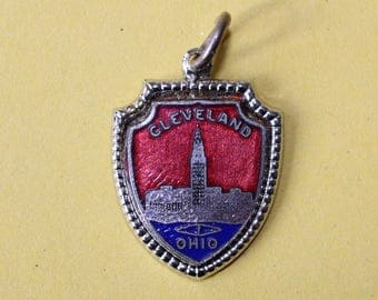 Vintage Sterling Silver State Cleveland Ohio Enamel Charm Terminal Tower Charm Bracelet made by Fort