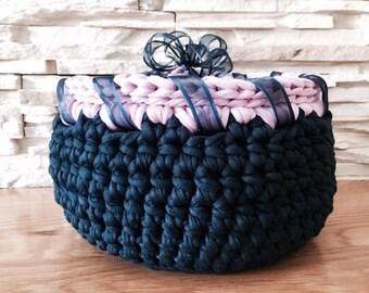 Dark Blue and Pink Storage Basket Crochet
