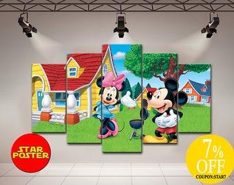 Mickey Mouse canvas, Minnie mouse canvas, Mickey and Minnie, Disney Art Kids, Mickey Mouse, Minnie mouse, Mickey wall decor, The Walt Disney