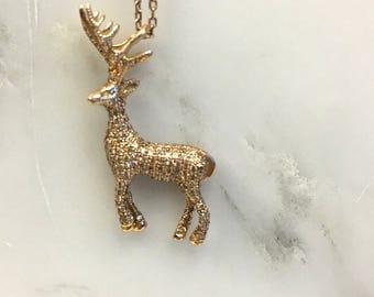 Pink gold deer pendant
