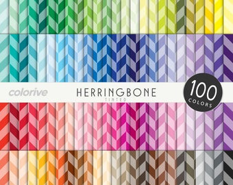 Tinted Herringbone digital paper 100 rainbow colors classic herringbone fabric brights pastels neutrals printable scrapbooking paper