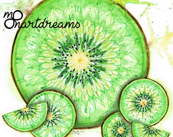 Kiwi Mandala - Signed Fine Art Giclee Print - Art by MoonArtDreams
